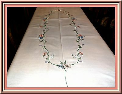 Gorgeous Vintage Embroidered Oval Tablecloth - 100 By 65