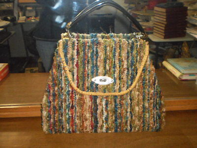 True Vtg 1960s Jerry Terrence Carpet Bag Purse~Retro~Hippie~Mod~Huntington CA