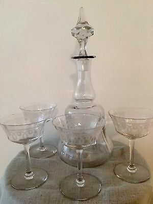 Antique etched glass decanter and 4 Glasses In Herringbone and Pendant Etching