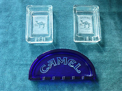Vintage Camel cigarette collectibles lot of 3 glass ashtrays