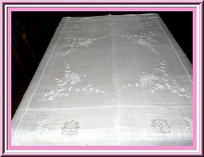 Fabulous Antique White On White Embroidered Linen Tablecloth With Punchwork