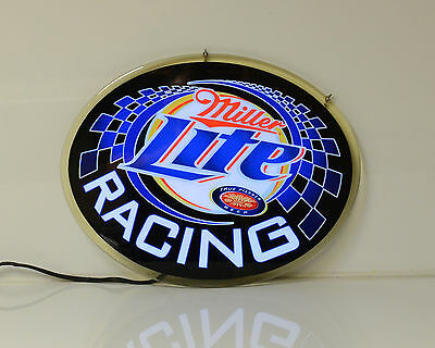Miller Lite Beer Racing Sign Led Lighting Flashes Acrylic Man Cave Bar
