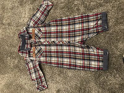 Checked Shirt Baby Grow 0-3 Months Red