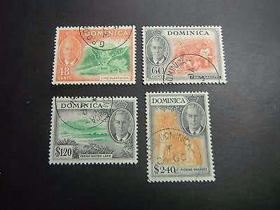 Dominica 1951 Scott 133 - 136 Used CDS Top Set Values - Read Description
