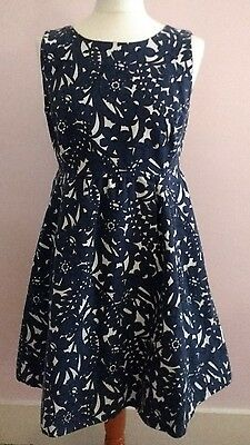 Zara womens black, blue and white 100% cotton skater dress size M