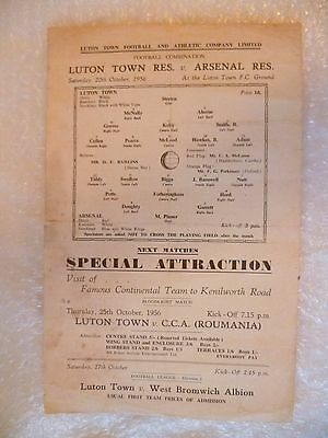 1956 LUTON TOWN Res. v ARSENAL Res., 20th Oct (Single Sheet Combination).