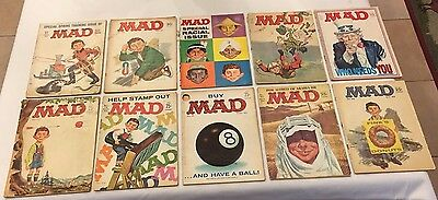 Mad Magazines Lot of 10 Comics **Reader**Issues 60's Vintage