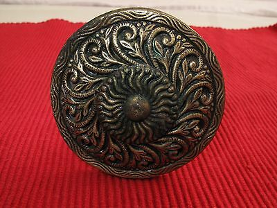 "Antique Brass Ornate Victorian Curtain Tie Back Curlicue Rosette 2 1/2"" D"