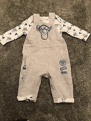 Baby Tigger Outfit 0-3 Month Baby Grow Dungarees Disney Grey Boy Girl