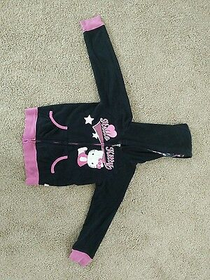 Girl's HELLO KITTY Size 6/6X Black zip-up Jacket with Hoodie cotton