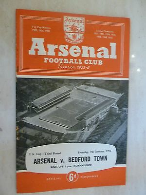 ARSENAL v BEDFORD TOWN -1956 FA Cup Programme 3rd Round Match - 7th January