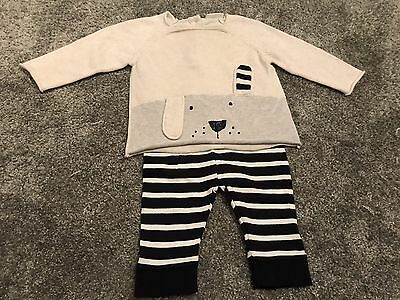 Next Baby Outfit Set 3-6 Month Trousers Top Rabbit Stripes