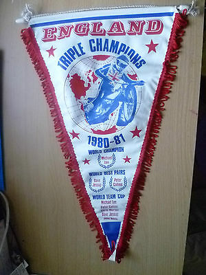 Speedway Pennants- 1980-81 ENGLAND TRIPLE CHAMPIONS FINAL- Michael Lee (42x25cm)