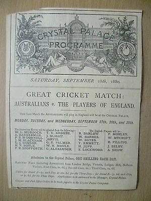 1880 CRICKET MATCH-Crystal Palace;AUSTRALIA v ENGLAND + CONCERT by Alfred J Eyre