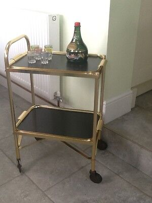 1960s Mid Century  Gold Black Hostess Drinks Cocktails Trolley