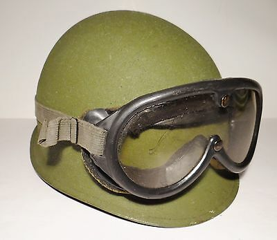 Vintage Olive Green Steel Military Helmet With Camo Liner & Sun Goggles