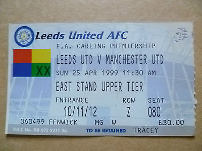 Ticket- LEEDS UNITED v MANCHESTER UNITED, FA Carling Premiership, 25 April 1999