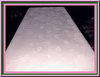 Gorgeous Antique Irish Linen Damask Tablecloth With Flowers & Monogram 104 X 70