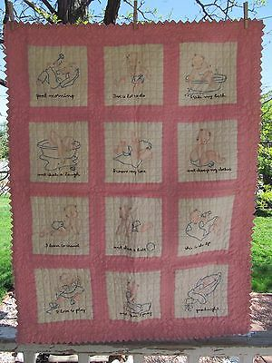 FINEST Antique Pink Baby Quilt 12 Embroidered Squares Morning - Night EX COND