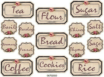 SHaBbY ViNTaGe RoSe CaNisTer & SPiCe LaBeLs WaTerSLiDe DeCALs
