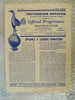 1956 TOTTENHAM HOTSPUR v LEEDS UNITED, 25th Aug