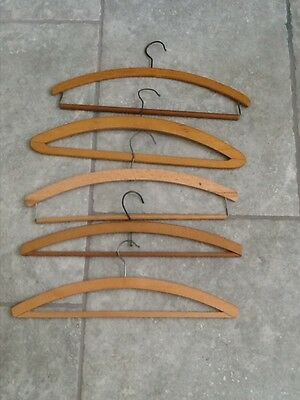 5 Genuine Vintage Wooden Clothes Hangers