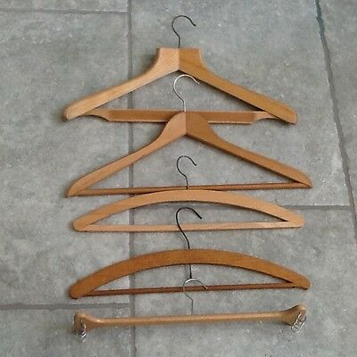 5 Mixed Genuine Vintage Wooden Clothes Hangers - including  1 Skirt Hanger