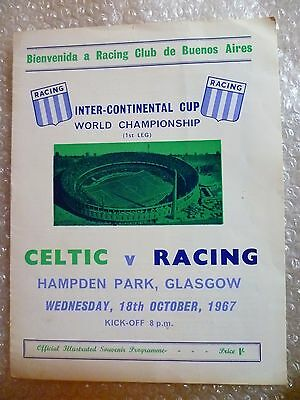 1967 Inter Continental Cup World Championship CELTIC v RACING, 18th Oct- Exc Con