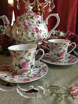 Pink Rose Chintz 6 Cup Porcelain Tea Pot and 2 Adult Cups & Saucer SALE TODAY!