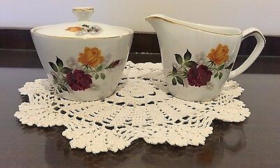 Vintage jug & Sugar bowl with lid Alfred Meakin England Glo White Ironstone