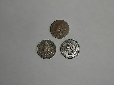 Lot Of (3)  1867,1873,1878 Indian Head Cents Pennies