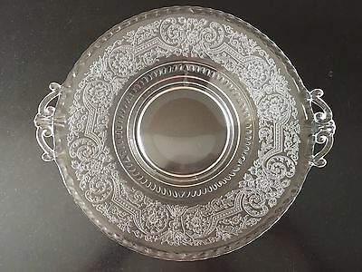 Antique Etched Clear Glass Ornate Handles Round Serving Dish Platter Tray BK