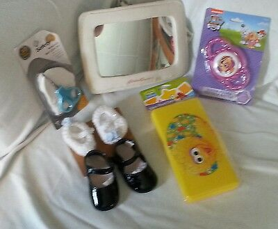 Lot Of 7 Baby Items Bundle Deal Mirror Dress Shoes Tether Rattler(12)