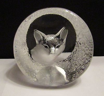 Mats Jonasson Lead Crystal Glass Etched Fox Paperweight. Signed. No.9177