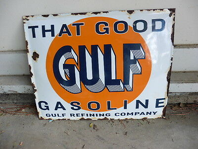 Original 1930s Gulf Good Gasoline Porcelain On Steel Curved Gas Station Sign @@