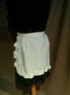 Aprons, lot of five white cotton frilled waist pinnies used v good condition