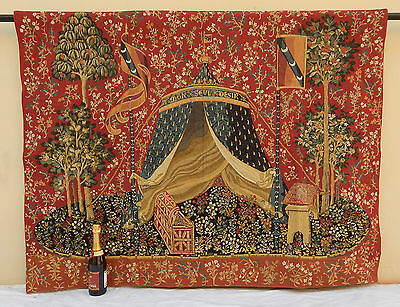 "Antique Large French Aubusson Style Wall Hanging/Tapestry (67"" x 50"")"