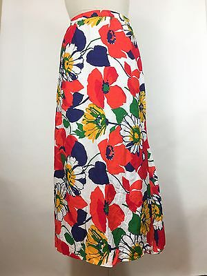 Vintage Nelly de Grab Floral Skirt Maxi Hostess Bright Red Blue Yellow 1960s