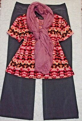 Women's Plus Clothing Lot  Work-Career Pants  Knit Top New Scarf  size 16/XL