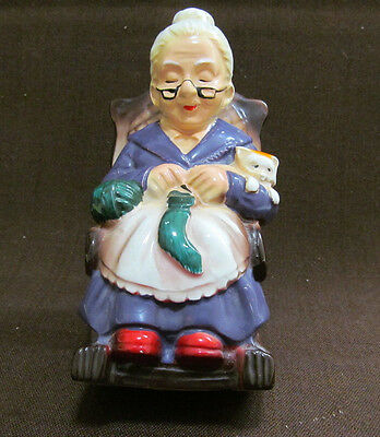 Vintage-Ceramic-Retirement-Fund-Coin-Bank-Old-Woman-in-Rocker-Cat-KnittingJapan
