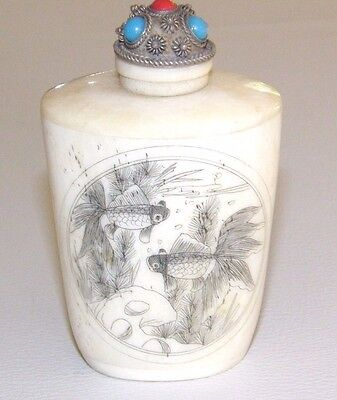 Vintage Japanese Erotic Scrimshaw Snuff Bottle Koi Fish Blue Red Glass Cabochons