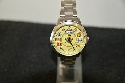 Masonic Wrist Watch Silver In Colour Superb Details Of Masonic Symbols Coloured