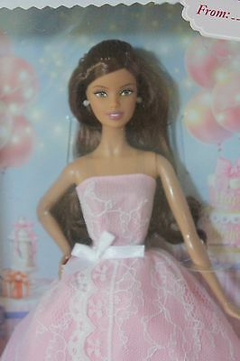 2015 Barbie Doll Mattel Birthday Wishes Latina Pink White Lace Gown NRFB