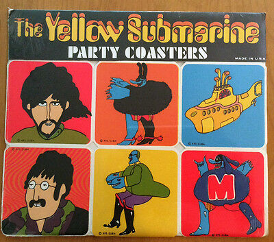 "Super Rare Beatles ""yellow Submarine"" Party Coasters.  Still Sealed!"