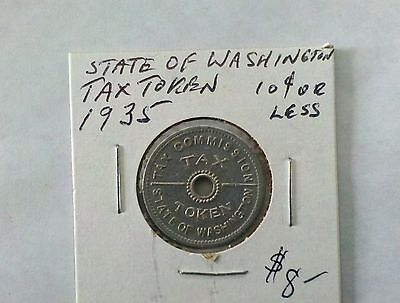 State Of Washington Tax Token 1935 10 Cents Or Less
