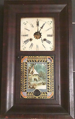 Antique Waterbury Clock Weight Driven With Key Weights Pendulum Circa...very old