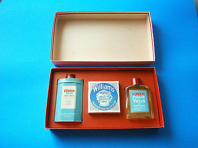 J B Williams Vintage Shaving Gift Set Talc Mug Soap Aqua Velva In Original BoX