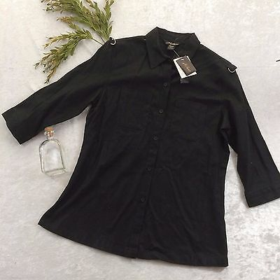 Milano Size M Black Linen Blend Button Down Womens Top 3/4 Sleeve NWT