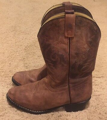 Woman's Ariat 15725 Brown Leather Slip-on Cowboy Boots Size 7