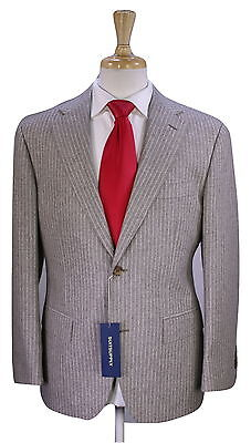 NWT New * SUITSUPPLY * Napoli Light Brown Striped Wool Flannel Slim Fit Suit 38S
